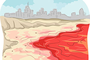 A cartoon depiction of red tide.
